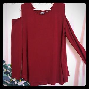 New York & Company Red cold shoulder top size XL